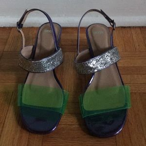 ASOS purple, lime green and silver sparkle sandals